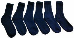 6 Bulk Yacht & Smith Men's Loose Fit NoN-Binding Soft Cotton Diabetic Crew Socks Size 10-13 Navy