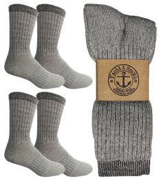 4 Bulk Yacht & Smith Mens Terry Lined Merino Wool Thermal Boot Socks