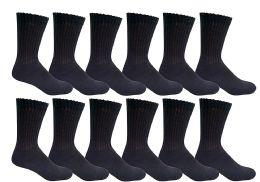 12 Bulk Yacht & Smith Men's Loose Fit NoN-Binding Soft Cotton Diabetic Crew Socks Size 10-13 Black