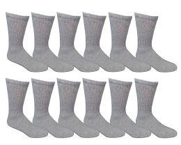 12 Bulk Yacht & Smith Men's Loose Fit NoN-Binding Soft Cotton Diabetic Crew Socks Size 10-13 Gray