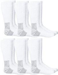 6 Bulk Yacht & Smith Mens Heavy Duty Steel Toe Work Socks, White Size 10-13