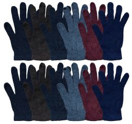 12 Bulk Yacht & Smith Men's Winter Gloves, Magic Stretch Gloves In Assorted Solid Colors