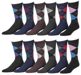 12 Bulk Yacht & Smith Men's Designer Pattern Dress Socks, Cotton Blend