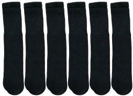6 Bulk Yacht & Smith Kids Black Solid Tube Socks Size 4-6