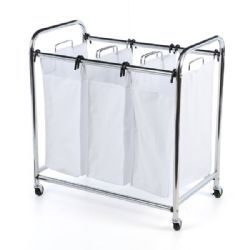 24 Bulk Laundry Sorter Hamper 3 Compartment
