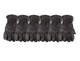 6 Bulk Yacht & Smith Mens Winter Warm Waterproof Ski Gloves, One Size Fits All Black