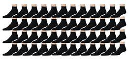 48 Bulk Yacht & Smith Kids Cotton Quarter Ankle Socks In Black Size 6-8