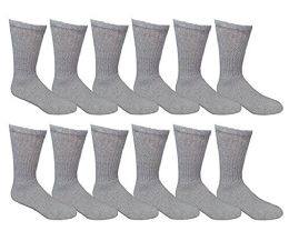 12 Bulk Yacht & Smith Kids Cotton Crew Socks Gray Size 4-6