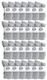 24 Bulk Yacht & Smith Kids Cotton Crew Socks Gray Size 6-8
