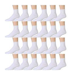 24 Bulk Yacht & Smith Kids Cotton Quarter Ankle Socks In White Size 4-6