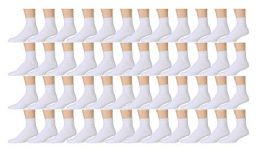 48 Bulk Yacht & Smith Kids Cotton Quarter Ankle Socks In White Size 4-6