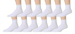 12 Bulk Yacht & Smith Kids Cotton Quarter Ankle Socks In White Size 4-6