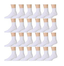 24 Bulk Yacht & Smith Kids Cotton Quarter Ankle Socks In White Size 6-8
