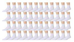 48 Bulk Yacht & Smith Kids Cotton Quarter Ankle Socks In White Size 6-8