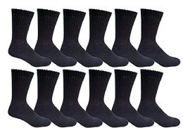 12 Bulk Yacht & Smith Kids Cotton Crew Socks Black Size 4-6