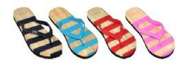 48 Bulk Women's Assorted Stripe Color Flip Flop
