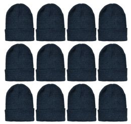 12 Bulk Yacht & Smith Unisex Winter Warm Beanie Hats In Solid Black