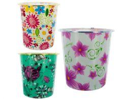 48 Bulk Round Floral Design Wastebasket