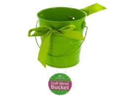 36 Bulk Mini Metal Craft Bucket With Ribbon