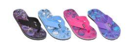 36 Bulk Womens Assorted Color Flip Flops Butterfly
