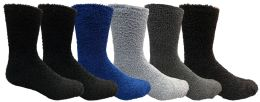 6 Bulk Yacht & Smith Men's Warm Cozy Fuzzy Socks, Size 10-13