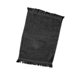 240 Bulk Fingertip Towel Fringed Ends In Black