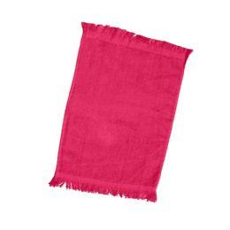 240 Bulk Fingertip Towel Fringed Ends In Hot Pink