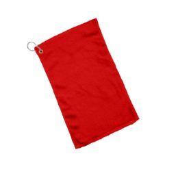 240 Bulk Fingertip Towel Hemmed Ends Corner Grommeted And Hook In Red