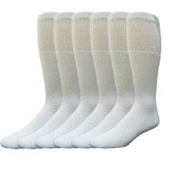 180 Bulk Yacht & Smith 31 Inch Men's Long Tube Socks, White Cotton Tube Socks Size 10-13