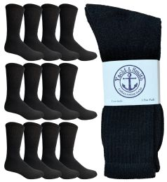 12 Bulk Yacht & Smith King Size Men's Crew Socks Cotton Terry Cushioned Solid Black Size 13-16