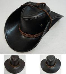 72 Bulk Shiny LeatheR-Like Cowboy Hat