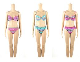 24 Bulk Womans Assorted Printed With Bow 2 Piece Bathing Suit