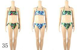24 Bulk Womans Assorted Printed 2 Piece Bathing Suit
