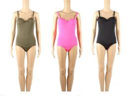 24 Bulk Womans Assorted Solid Colors 1 Piece Bathing Suit