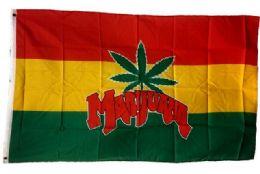 24 Bulk Rasta Color Marijuana Leaf Flag