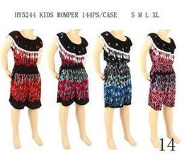 48 Bulk Girls Fashion Summer Romper Assorted Color And Size