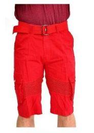 12 Bulk Men's Fashion Cargo Shorts Motto Design In Red