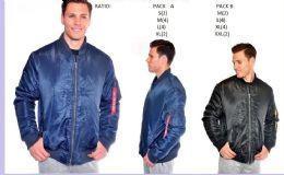 12 Bulk Men's Fashion Flight Jacket In Blue
