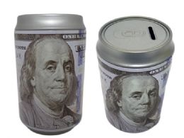 48 Bulk Coin Bank, Saving Tin, Us $100 Bill