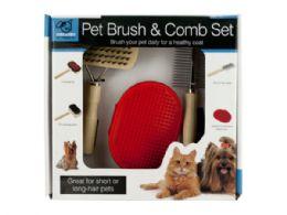 12 Bulk Pet Brush & Comb Grooming Set