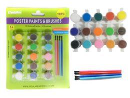 96 Bulk 19pc Poster Paint & Brushes Set