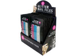 108 Bulk Glitter Nail File Set Counter Top Display