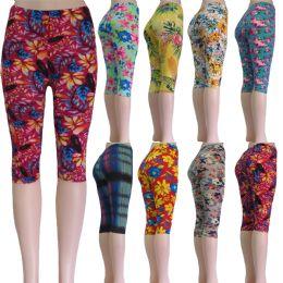 "48 Bulk ""soft Feel"" Below The Knee Capri Length Leggings In Assorted Prints Including Floral And Aztec"