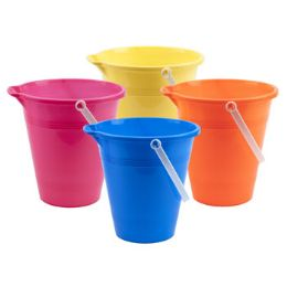 72 Bulk Plastic Sand Bucket In Assorted Colors
