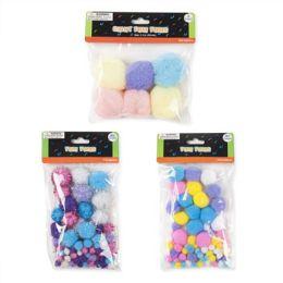 72 Bulk Pastel Glitter Pom Poms