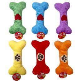 36 Bulk 9 In Plush Bone Dog Toy W/squeaker