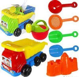 6 Bulk 7 Piece Toy Dump Truck & Sand Toys