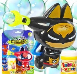 48 Bulk Friction Powered Super Heroes Carded Bubble Guns