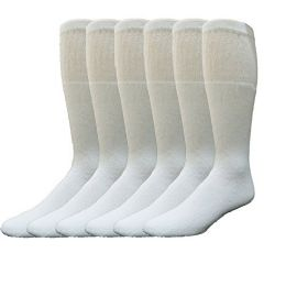 6 Bulk Yacht & Smith 31 Inch Men's Long Tube Socks, White Cotton Tube Socks Size 10-13