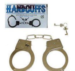 144 Bulk Chrome Plated Metal Handcuffs